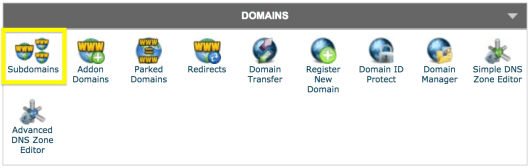 The Domains section in cPanel.