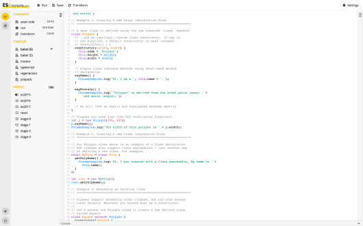 The ES6console home page.