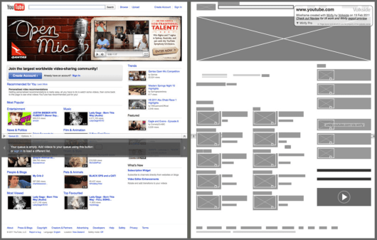 An example wireframe from Wirify.