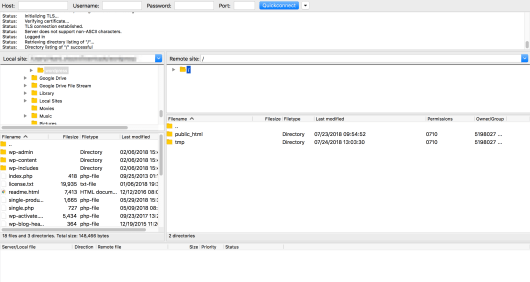 Viewing a WordPress site's files using FileZilla.