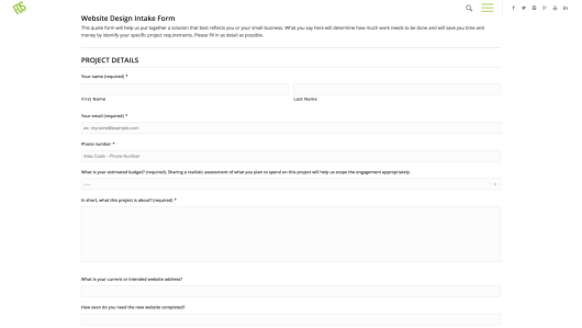 An example of a client intake form on a website.