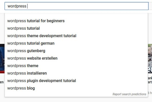 use youtube search suggestions to find blog post topics