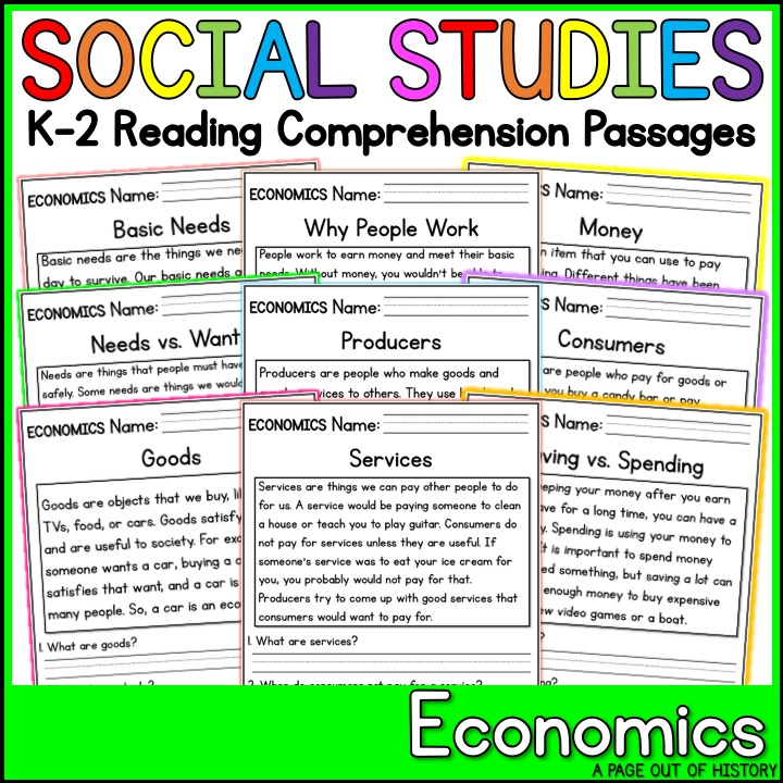 Economics Reading Comprehension Passages (K-2) - A Page Out of History