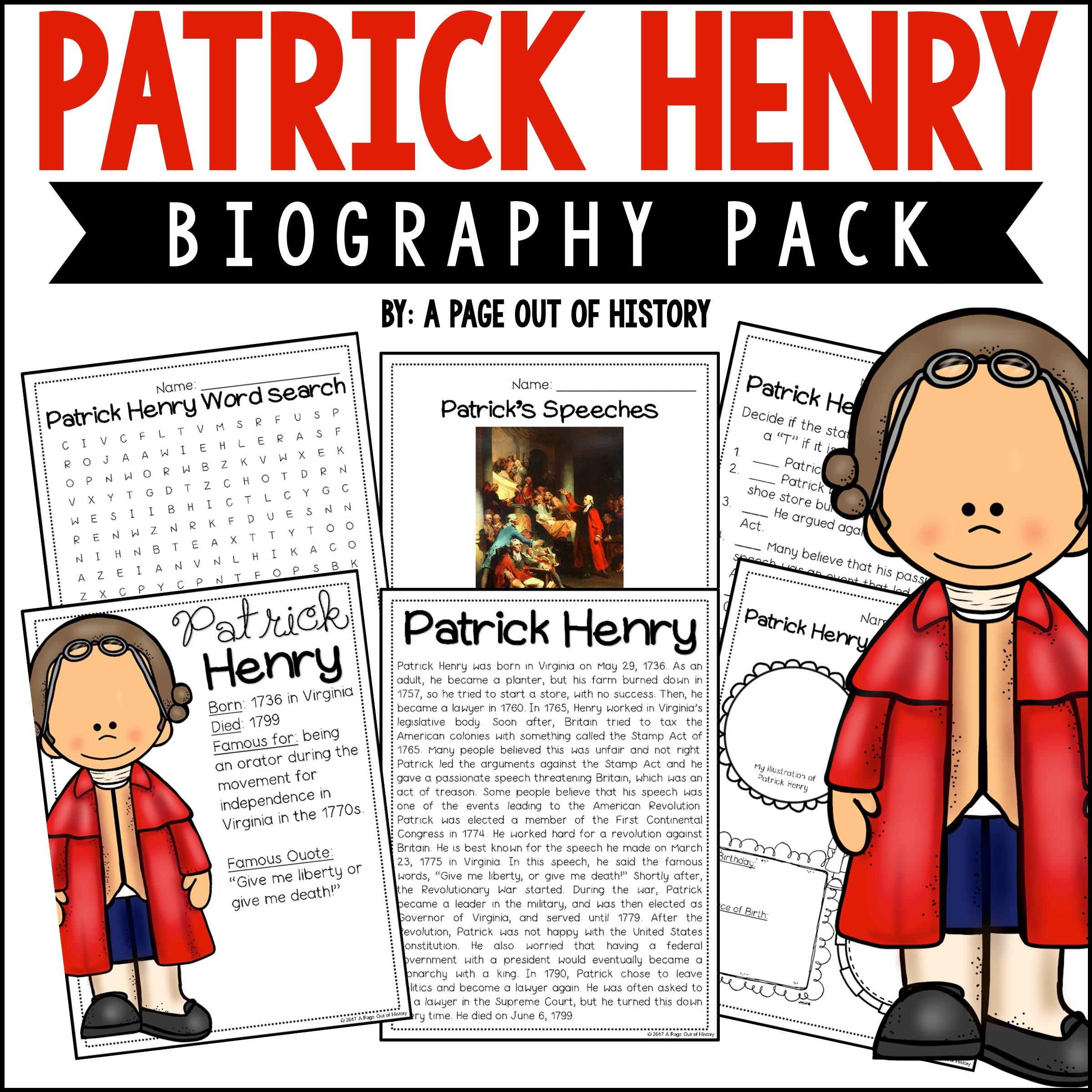 Patrick Henry Biography Pack Revolutionary Americans