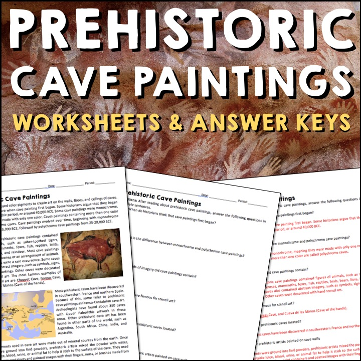 Prehistoric Cave Paintings Reading Worksheets and Answer Keys - A Page Out  of History
