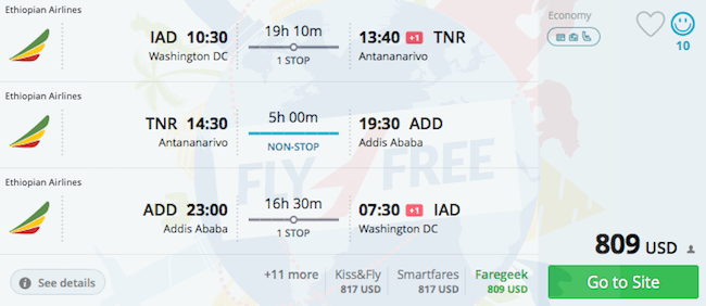 Washington to Antananarivo, Addis Ababa to Washington