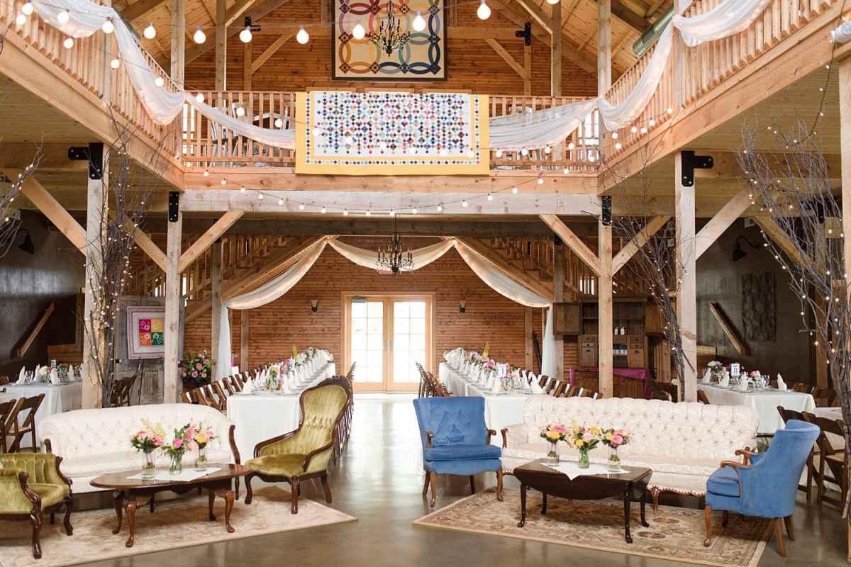 Sugar grove vineyards barn wedding reception