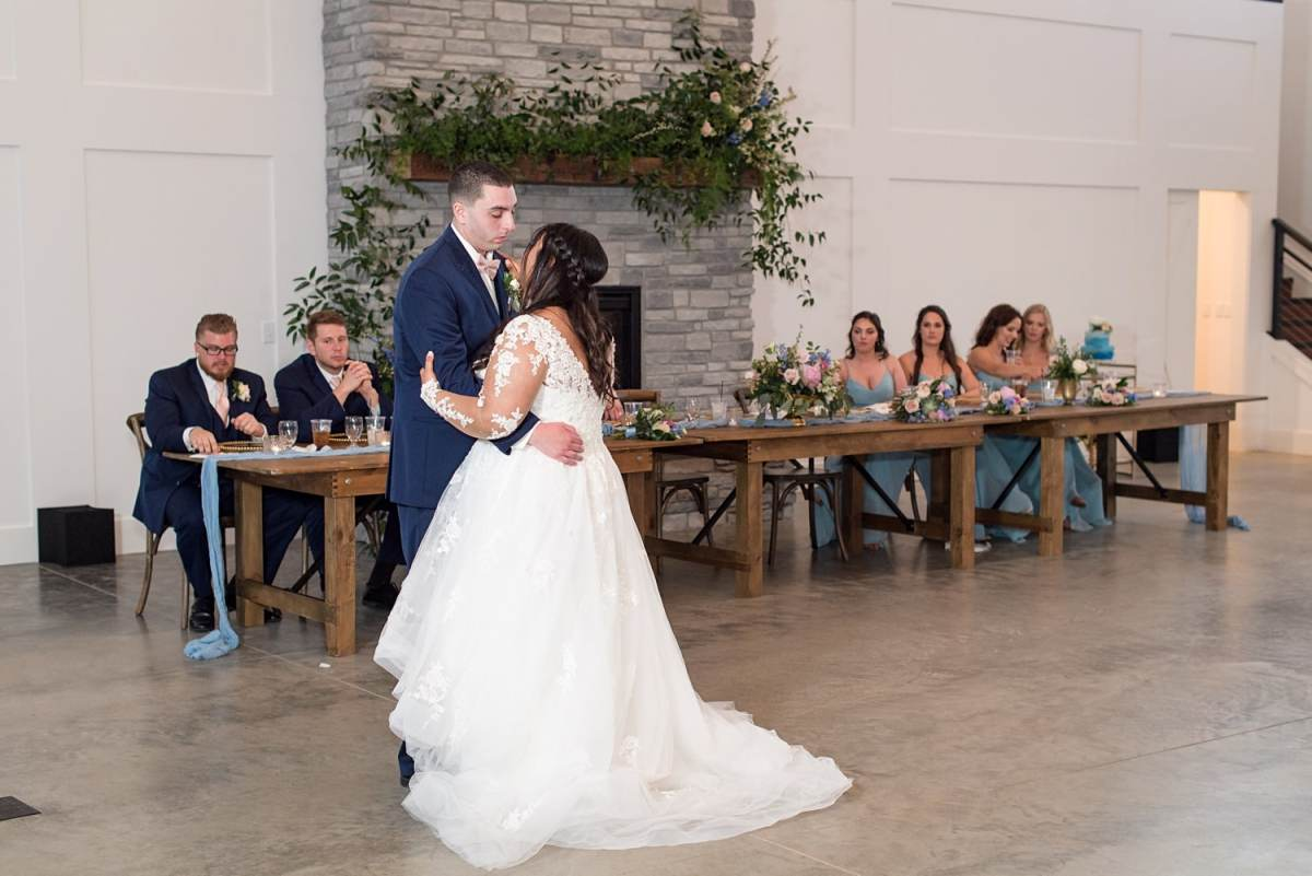 Bride and grooms first dance at their wedding at emerald hills events