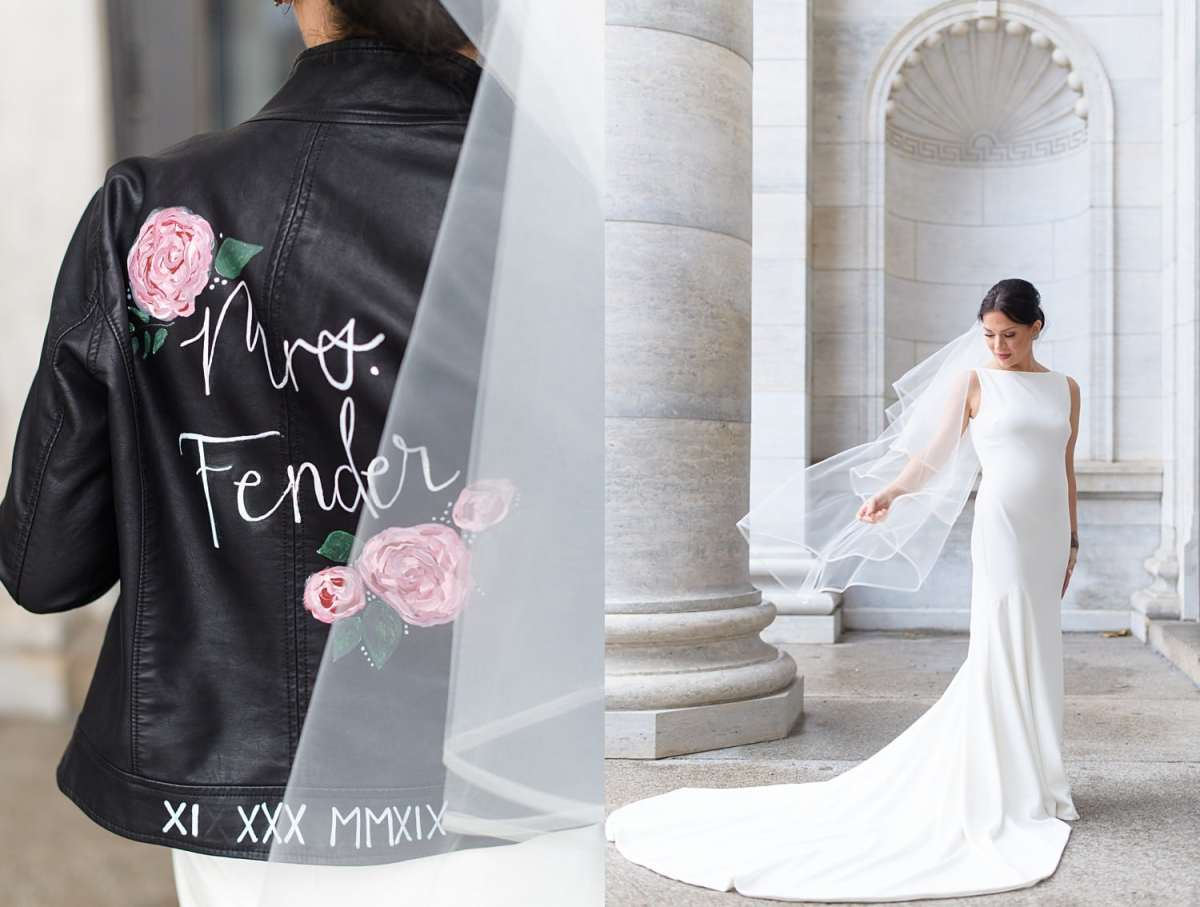 hand painted bride's leather jacket