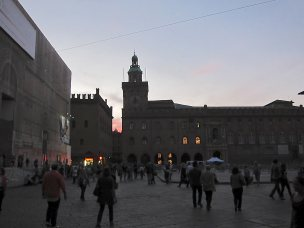 Bologna piazza sunset