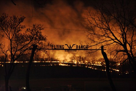 Flying W Ranch flaming sign