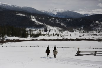 Devil's Thumb Ranch horse riders snow