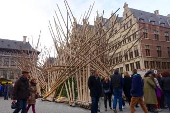 Grote Markt Antwerp wood sculpture