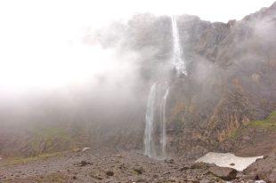 Cirque de Gavarnie double waterfall clouds