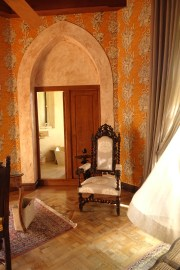 Chateau de Riell bedroom door and chair