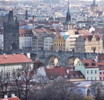 Prague city view bridge