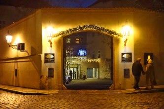 Prague Mandarin Oriental entrance at night