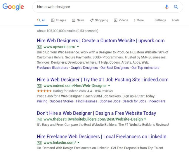 Google Search Results: Hire a web designer