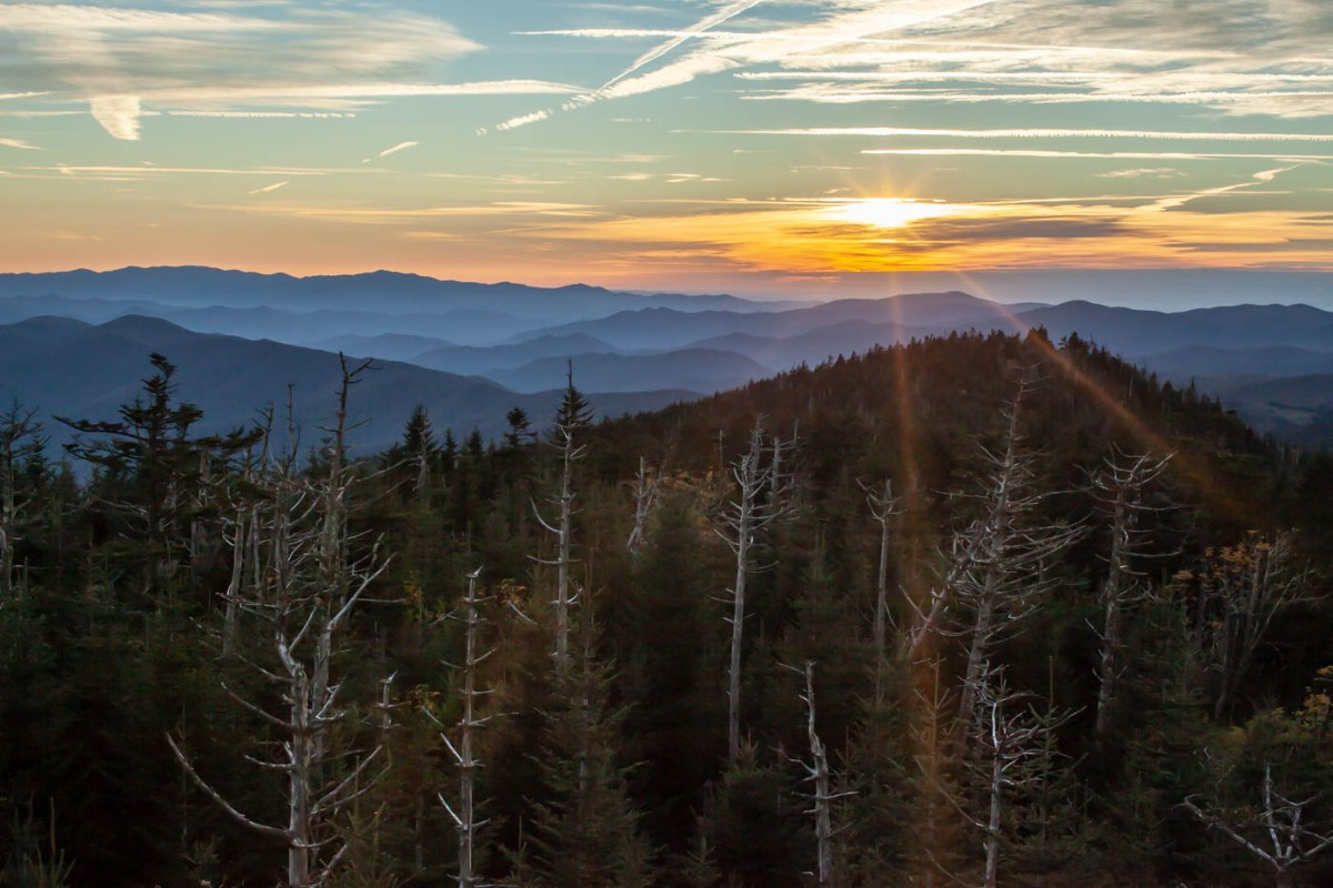 Clingmans Dome Sunset at Great Smoky Mountains National Park taken from the top of the Clingmans Dome Observation Tower #vezzaniphotography