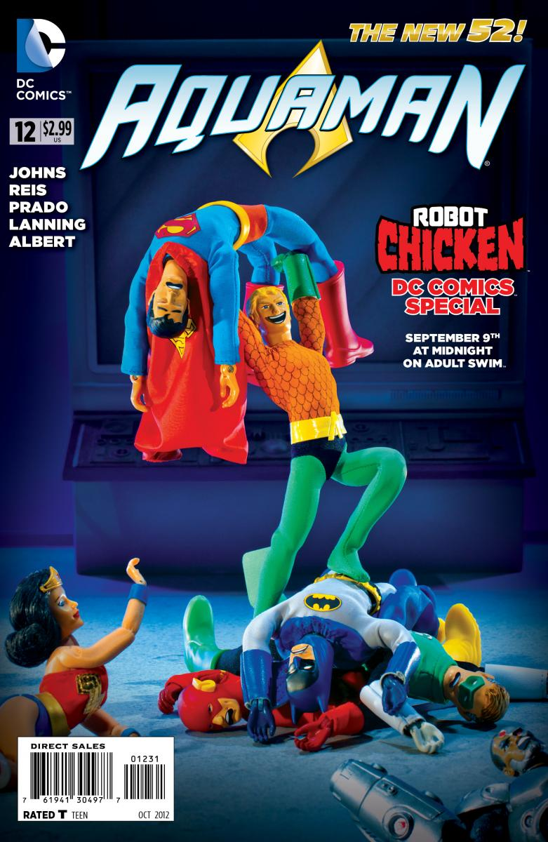 """The Adult Swim show """"Robot Chicken"""" has been famous for its treatment of Aquaman. Making a variant cover to Aquaman #12 two years ago"""