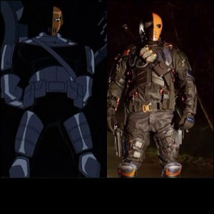 Deathstroke, called Slade, from Teen Titans (left) and from Arrow portrayed by Manu Bennett (right)