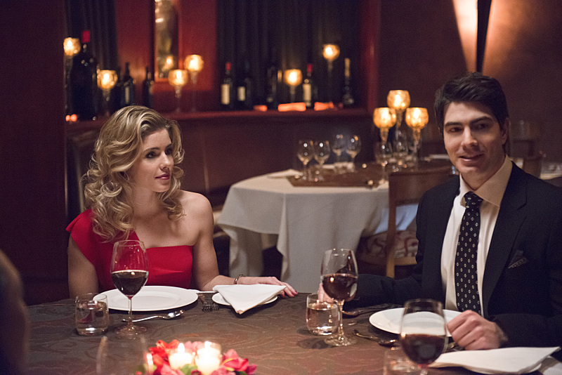 "The Flash -- ""All Star Team Up"" -- Image FLA118A_0147b -- Pictured (L-R): Emily Bett Rickards as Felicity Smoak and Brandon Routh as Ray Palmer-- Photo: Cate Cameron/The CW -- © 2015 The CW Network, LLC. All rights reserved."