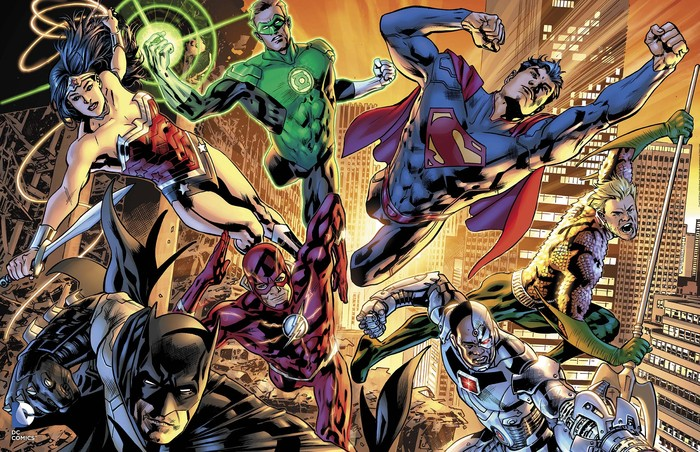 """""""Justice League of America"""" 22"""" x 34"""" poster, art by Bryan Hitch (Available June 17)"""