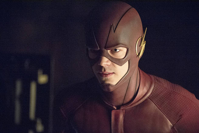 "Arrow -- ""My Name is Oliver Queen"" -- Image AR323A_0146b -- Pictured: Grant Gustin as Barry Allen / The Flash -- Photo: Cate Cameron/The CW -- © 2015 The CW Network, LLC. All Rights Reserved."