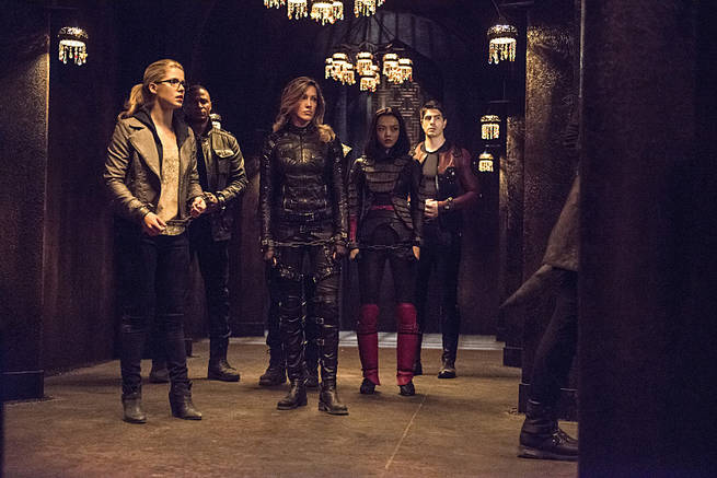 """Arrow -- """"This is Your Sword"""" -- Image AR322B_0011b -- Pictured (L-R): Emily Bett Rickards as Felicity Smoak, David Ramsey as John Diggle, Katie Cassidy as Laurel Lance, Rila Fukushima as Tatsu Yamashiro, and Brandon Routh as Ray Palmer -- Photo: Cate Cameron/The CW -- © 2015 The CW Network, LLC. All Rights Reserved."""
