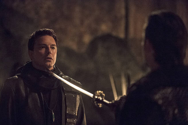 "Arrow -- ""This is Your Sword"" -- Image AR322A_0175b -- Pictured: John Barrowman as Malcolm Merlyn -- Photo: Cate Cameron/The CW -- © 2015 The CW Network, LLC. All Rights Reserved."