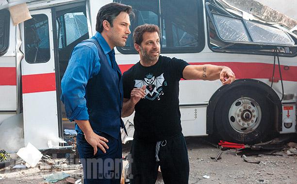 Ben Affleck goes over a scene with director Zack Snyder.