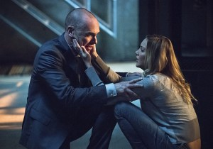 """Arrow -- """"Beyond Redemption"""" -- Image AR405B_0414b.jpg -- Pictured (L-R): Paul Blackthorne as Quentin Lance and Katie Cassidy as Laurel Lance -- Photo: Dean Buscher/ The CW -- © 2015 The CW Network, LLC. All Rights Reserved."""