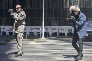 """The Flash -- """"The Man Who Saved Central City"""" -- Image FLA201c_0042b.jpg -- Pictured (L-R): Dominic Purcell as Heat Wave and Wentworth Miller as Captain Cold -- Photo: Cate Cameron /The CW -- © 2015 The CW Network, LLC. All rights reserved."""