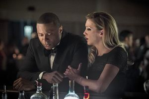 "Arrow -- ""Brotherhood"" -- Image AR407B_172b.jpg -- Pictured: David Ramsey as John Diggle and Katie Cassidy as Laurel Lance -- Photo: Cate Cameron/The CW -- © 2015 The CW Network, LLC. All Rights Reserved."