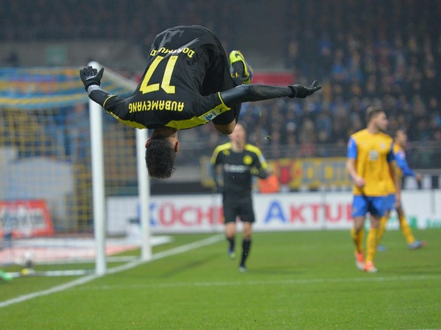 BRAUNSCHWEIG, GERMANY - JANUARY 31: Pierre-Emerick Aubameyang of Dortmund icelebrates scoring his second goal during the Bundesliga match between Eintracht Braunschweig and Borussia Dortmund at Eintracht Stadion on January 31, 2014 in Braunschweig, Germany. (Photo by Stuart Franklin/Bongarts/Getty Images)