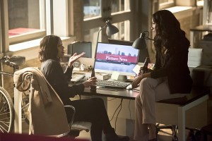 "The Flash -- ""Enter Zoom"" -- Image FLA206B_0162b.jpg -- Pictured (L-R): Malese Jow as Linda Park and Candice Patton as Iris West -- Photo: Dean Buscher/The CW -- © 2015 The CW Network, LLC. All rights reserved."