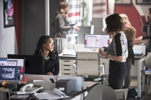 """The Flash -- """"Enter Zoom"""" -- Image FLA206B_0109b.jpg -- Pictured (L-R): Candice Patton as Iris West and Malese Jow as Linda Park -- Photo: Dean Buscher/The CW -- © 2015 The CW Network, LLC. All rights reserved."""