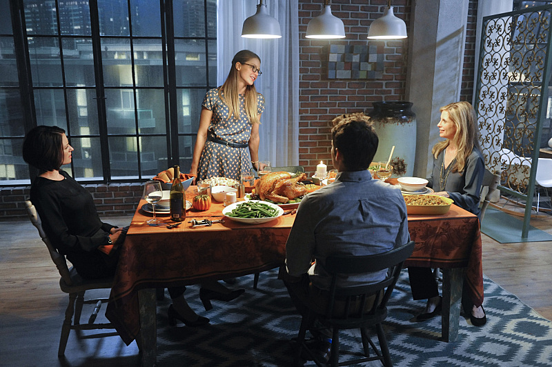 """Livewire"" -- Kara's (Melissa Benoist, center standing) Thanksgiving may be ruined when she suspects her foster mother, Dr. Danvers (Helen Slater, right), who is coming to town, disapproves of her new role as a superhero, on SUPERGIRL, Monday, Nov. 23 (8:00-9:00 PM, ET/PT) on the CBS Television Network. Also pictured: Chyler Leigh (left) and Jeremy Jordan (center seated) Photo: Darren Michaels/Warner Bros. Entertainment Inc. © 2015 WBEI. All rights reserved."