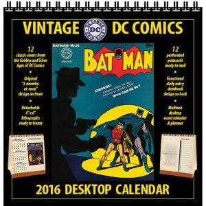 VINTAGE DC COMICS 2016 DESKTOP CALENDAR $14.95