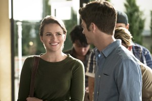 """The Flash -- """"The Darkness and the Light"""" -- Image FLA205A_0063b.jpg -- Pictured (L-R): Shantel VanSanten as Patty Spivot and Grant Gustin as Barry Allen -- Photo: Katie Yu/The CW -- © 2015 The CW Network, LLC. All rights reserved."""