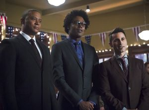 "Arrow -- ""Dark Waters"" -- Image AR409B_0071b.jpg -- Pictured (L-R): David Ramsey as John Diggle, Echo Kellum as Curtis Holt and Chenier Hundal as Paul  -- Photo: Diyah Pera/ The CW -- © 2015 The CW Network, LLC. All Rights Reserved."