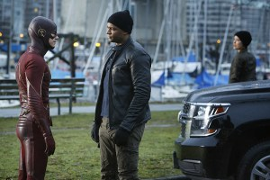 """The Flash -- """"King Shark"""" -- Image FLA215b_0030 -- Pictured (L-R): Grant Gustin as Barry Allen / The Flash, David Ramsey as John Diggle, and Audrey Marie Anderson as Lyla -- Photo: Bettina Strauss/The CW -- © 2016 The CW Network, LLC. All rights reserved"""