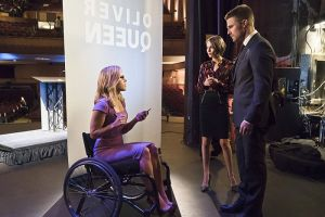 "Arrow -- ""Code of Silence"" -- Image AR414b_0102b.jpg -- Pictured (L-R):  Emily Bett Rickards as Felicity Smoak, Willa Holland as Thea Queen, and Stephen Amell as Oliver Queen -- Photo: Katie Yu/ The CW -- © 2016 The CW Network, LLC. All Rights Reserved."