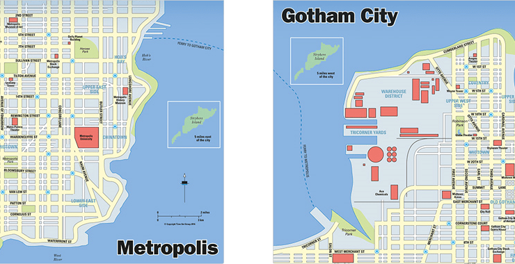 Gotham & Metropolis City Maps Revealed - DC Comics News