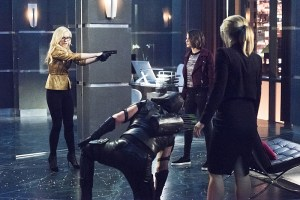 "Arrow -- ""Beacon of Hope"" -- Image AR417b_0406b.jpg -- Pictured (L-R): Emily Kinney as Brie Larvan, Stephen Amell as Green Arrow, Willa Holland as Thea Queen and Emily Bett Rickards as Felicity Smoak -- Photo: Dean Buscher/The CW -- © 2016 The CW Network, LLC. All Rights Reserved."
