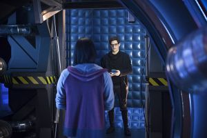 """The Flash -- """"Flash Back"""" -- Image: FLA217b_0049b.jpg -- Pictured (L-R): Carlos Valdes as Cisco Ramon and Andrew Mientus as Hartley Rathaway -- Photo: Diyah Pera/The CW -- © 2016 The CW Network, LLC. All rights reserved."""