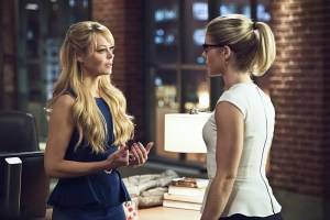 "Arrow -- ""Lost in the Flood"" -- Image AR422a_0313b.jpg -- Pictured (L-R): Charlotte Ross as Donna Smoak and Emily Bett Rickards as Felicity Smoak -- Photo: Dean Buscher/The CW -- © 2016 The CW Network, LLC. All Rights Reserved."