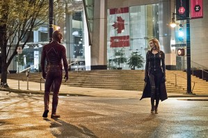 "The Flash -- ""Invincible"" -- Image: FLA222a_0433b.jpg -- Pictured (L-R): Grant Gustin as The Flash and Katie Cassidy as Black Siren -- Photo: Dean Buscher/The CW -- © 2016 The CW Network, LLC. All rights reserved."