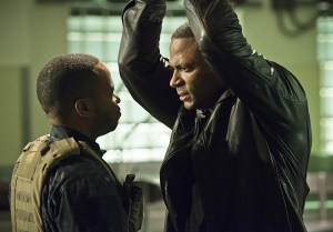 "Arrow -- "" Genesis"" -- Image AR420a_0077b.jpg -- Pictured (L-R): Eugene Byrd as Andy Diggle and David Ramsey as John Diggle -- Photo: Diyah Pera/The CW -- © 2016 The CW Network, LLC. All Rights Reserved."