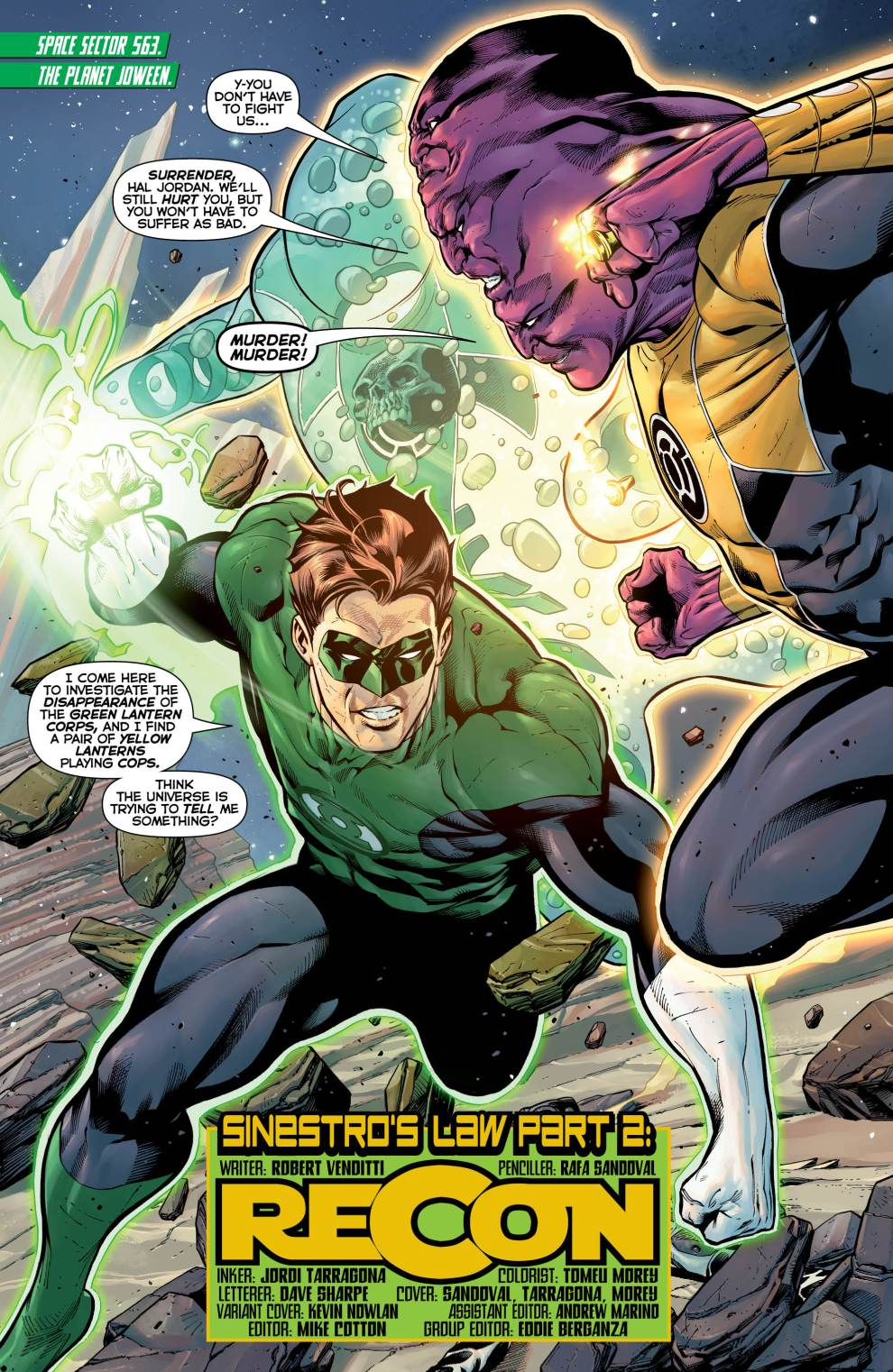 Images from Hal Jordan and the Green Lantern Corps #2 from DC Comics.